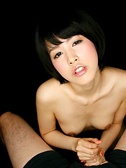 Sonoda Ruru strokes cock for cum swallow