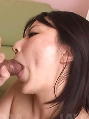 Megumi Haruka Asian sucks two boners before getting cum on chest