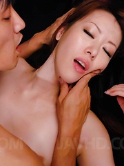 Misato Sakurai Asian has pussy licked under thong by man in leash