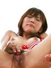Nagisa Aiba Asian in red lingerie gets vibrator on hairy beaver