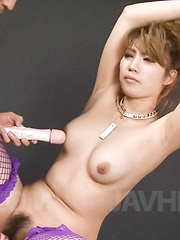 Misaki Aiba Asian with hands in ropes has pussy under teasing