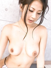 Satomi Suzuki Asian with fine cans sucks dildo and fucks with it