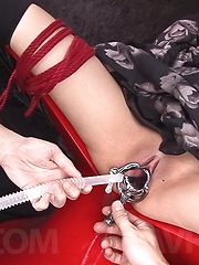 Hikaru Momose Asian gets vibrators in shaved cunt under dress