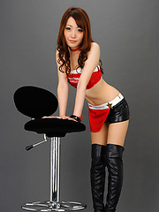 Yukina Masaki Asian is amazing doll in red and black latex outfit