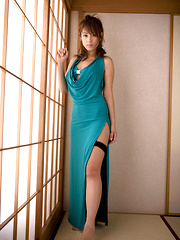 Ayaka Noda Asian shows sexy legs and ass under long blue dress