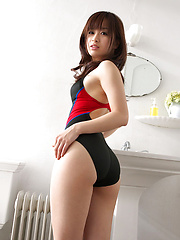 Hot Hikari Yamaguchi frolics in the bathroom in sexy swim suit