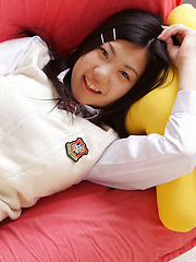 Miho Takai Asian in school uniform is very playful before classes
