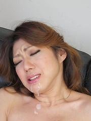 Reina Nishio Asian gets cum on mouth while uses vibrator in peach
