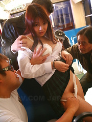 Yayoi Yoshino enjoys in bus sex after school