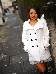 Hot girl You Shiraishi poses outdoor in coat
