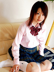 Naoko Sawano Asian in sexy school uniform is playful after class