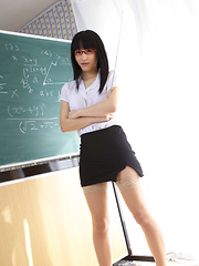 Yuri Hamada Asian shows sexy legs in stockings while teaching