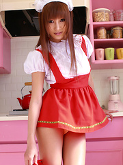 Kirara Asuka Asian shows pussy and ass in panty under uniform