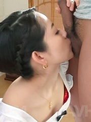 Anna Mihashi Asian sucks two tools and has hot ass cheeks touched