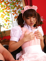 Hot darling Mahiru Tsubaki blows two peckers